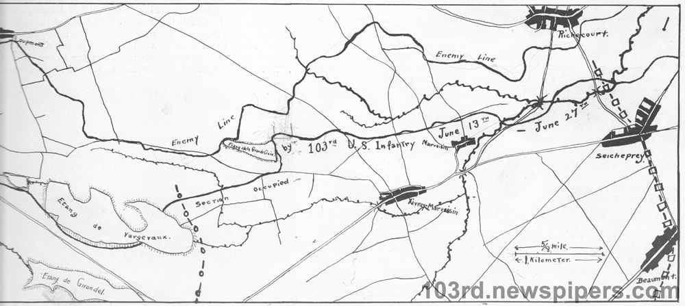 Map showing section of line held by regiment in 1918, Toul front